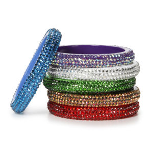 Bangle Bracelet Assortment, Acrylic Rhinestones