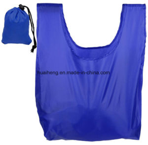 Reusable Grocery Bags Foldable W/ Integrated String Pouch Ripstop Nylon Tote