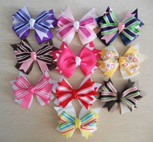 Strip Ribbon Hair Bows Headband
