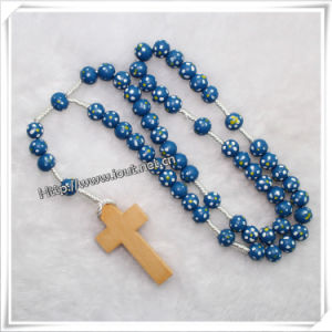 Colourful Knotted Cord Rosary Bracelet with Wooden Beads (IO-cr065) pictures & photos