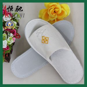 Embroidery Logo Open Toe Disposable Cheap Hotel Slipper