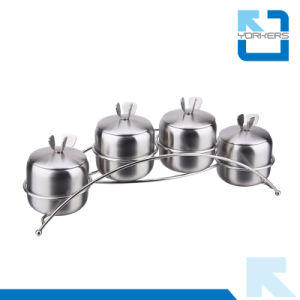 4 Pieces Stainless Steel Salt Pepper Set Condiment Spice Jar pictures & photos