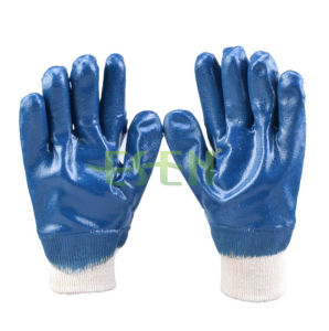 Nitrile Fully Coated Knit Wrist Jersey Lining Smooth Finish Gloves