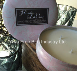 Top Quality Large Round Tin Candle with Three Wicks
