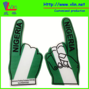 One Finger Big Foam Hand with Nigeria National Flag