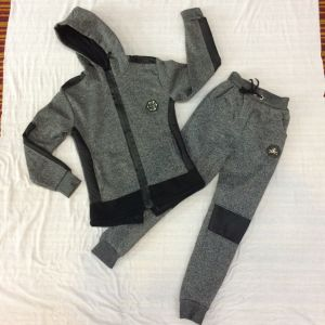 Fleece Contrast Leather Boy Tracksuits Clothes in Kids Apparel Sq-6449
