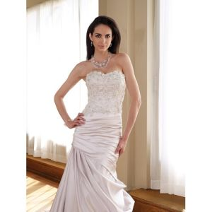 a-Line Satin Gown Asymmetrically Side Draped Chapel Bridal Dress