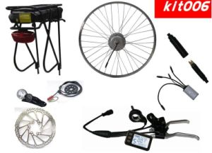 Whole Set Electric Bicycle Conversion Kit with Rear Rack Li-ion Battery Integrated Back Light pictures & photos