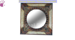 Square Bamboo Mirror Frame with Buterfly Pattern (ES09A-018)