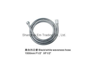 Black/White Waveness Shower Hose Sanitary Accessory