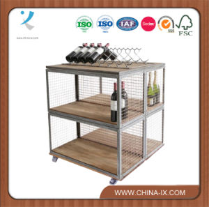 Dual Sided Display Unit on Castors with Double Wine Rack pictures & photos