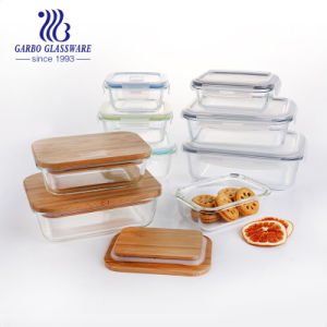 Heat Resistant 360ml High Pyrex Flower Decal Glass Lunch Box Food Storage Container GB13G14145b-Hcs-263A
