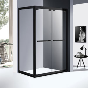 Rectangle 304 Stainless Steel Profile Corner Shower Room with Two Sliding Door in Black Color