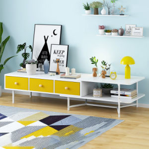 China Simple Warm White Yellow Modern Living Room Bedroom Wooden Countertop Steel Frame Tv Stand Tv Unit Furniture Tv Cabinet China Living Room Bedroom Tv Stand Steel Frame Tv Unit