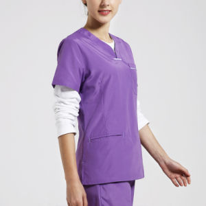 Custom V Neck Purple Usually Hospital Nursing Scrubs Nursing Uniforms pictures & photos