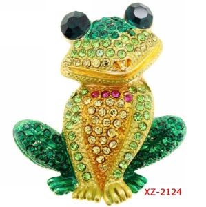 SGS 2014 Cute Cheap Green Frog Pin Rhinestone Brooches (XZ-2124)