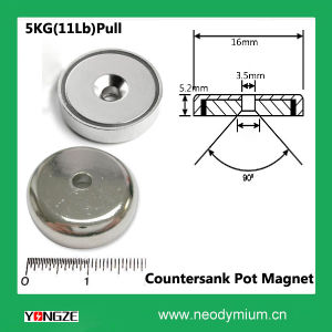 Neodymium Disc Pot Magnet with Countersank Hole