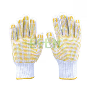 Good Quality Cotton Industrial Work Gloves with Pink PVC Yellow Dots