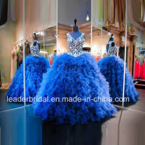 Blue Quinceanera Dresses Lace Embroidery Beaded Organza Ball Gowns Z3015 pictures & photos