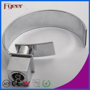 Fyeer Chrome Modern Crooked Wide Spout Waterfall Wash Basin Faucet Water Mixer Tap Wasserhahn pictures & photos