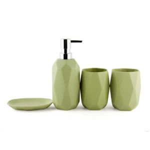 4-Piece Green Bathroom Accessories Set Ceramics pictures & photos