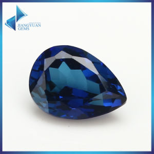 Wholesare Price Synthetic Corundum Lab Created AAA 34# Blue Pear Ruby Loose Gemstone pictures & photos