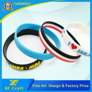 Manufacturer Custom Fashion Debossed Silicon Silicone Rubber Wristband Bracelet for Promotional Gift (XF-WB01) pictures & photos