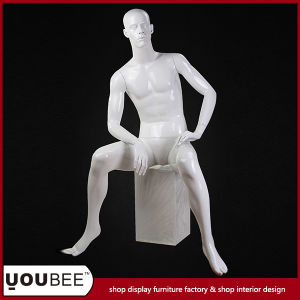 Factory Supply Sitting Male Fiberglass Mannequin with Square Pillar in Glossy White
