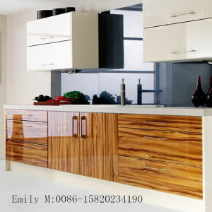 Wood Grain Kitchen Cabinet (ZHUV factory) pictures & photos