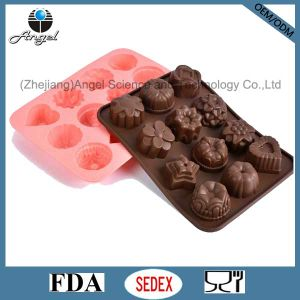 Holiday 12 Flowers Silicone Chocolate Mold Chocolate Tool Sc27