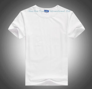 Wholesale Pure White Crew Style Short Sleeve T-Shirt for Male pictures & photos