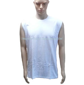 Sleeveless White T Shirt with Crew Neck pictures & photos