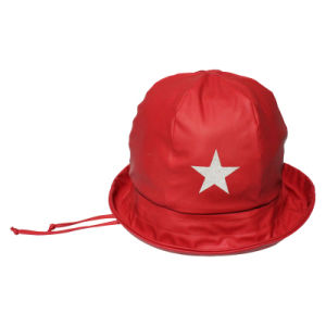 China Star Solid Red PU Rain Hat with Strap for Children - China ... ed5a0e47481f