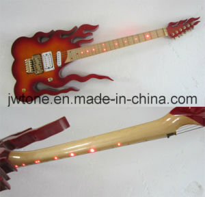 Flame Body Headstock LED Light on Fretboard Inlay OEM Electric Guitar