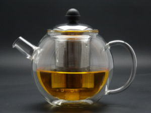700ml Double Wall Glass Teapots with Steel Lid and Insfuser