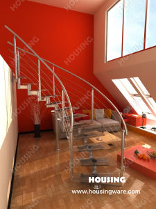 Modern Staircase, Curved Staircase with Tempered Glass Tread (HS-C02)