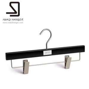 Wooden Black Pants Hanger, Trousers Hanger of Bar with Clip pictures & photos