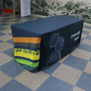 Tradeshow Polyester Stretch Table Throw Fitted Table Cover pictures & photos