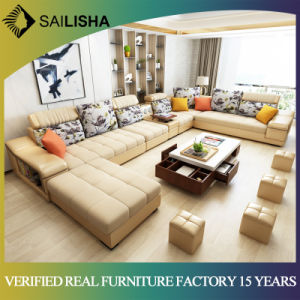 Nordic High End Genuine Leather Corner Sofa Set 7 Seater Sectional L Shaped  Combination Sofa and Couch