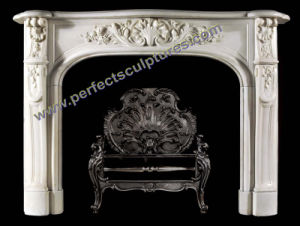 Carved Stone Fireplace for Marble Mantel (QY-LS383) pictures & photos