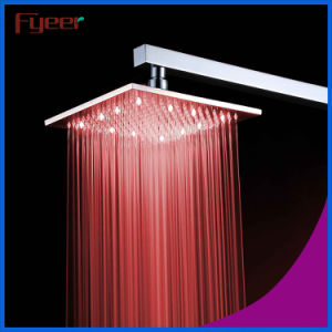 Fyeer Nickle Brushed Lighted Shower Head with Temperature Sensor pictures & photos