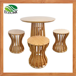 Bamboo Round Table & Stool Set pictures & photos