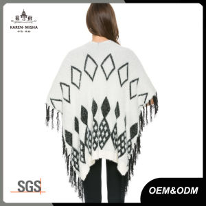 Women Fringed Knitted Diamond Sweater Shawl pictures & photos
