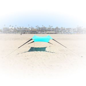 Portable Easy Pop up Beach Stretch Fabric Sun Shade Tent Canopy with Sand Anchors Excellent Beach Tent