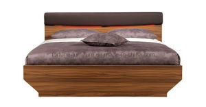 Wooden Walnut & White Double Bed with Leather Upholstered Headboard (B1011-1.8)