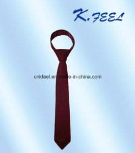 Fashion Wine Red Silk and Polyester Blended Knitted Tie