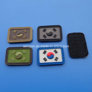 Customized Logo Rubber Label Patch with Magic Tape Back pictures & photos