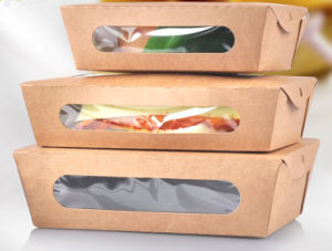 Eco-Friendly Food Grade Kraft Salad Paper Box with Window