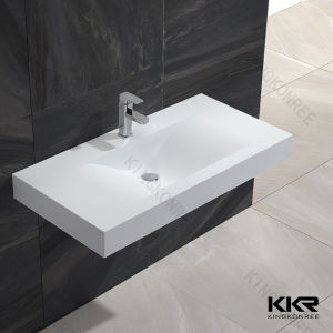 Wall Hunging Bathroom Solid Surface Wash Basin pictures & photos