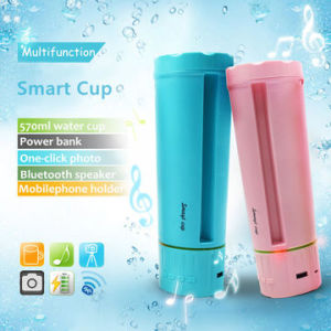 Smart water bottle with Bluetooth speaker, mobile phone holder and power bank